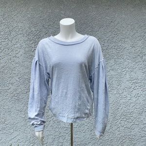 Free People Baby Blue Velvet Pullover Sweater Top